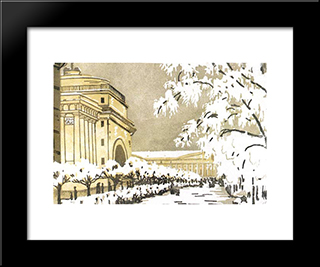 Admiralty Under The Snow: Modern Black Framed Art Print by Anna Ostroumova Lebedeva