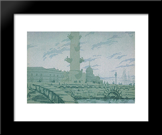 Petersburg. Rostral Column And Customs.: Modern Black Framed Art Print by Anna Ostroumova Lebedeva