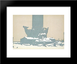 Petersburg. Rostral Column Under The Snow.: Modern Black Framed Art Print by Anna Ostroumova Lebedeva