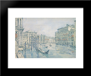Venice. Grand Canal. Grey Day.: Modern Black Framed Art Print by Anna Ostroumova Lebedeva