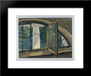 A Window: Modern Black Framed Art Print by Anna Ostroumova Lebedeva