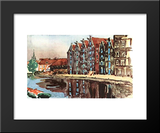 Amsterdam. The Old Warehouses.: Modern Black Framed Art Print by Anna Ostroumova Lebedeva