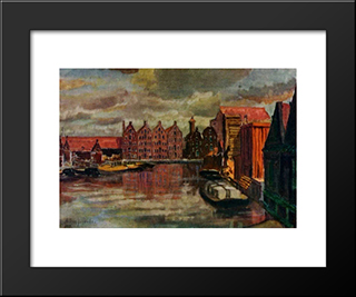 The Amsterdam Port: Modern Black Framed Art Print by Anna Ostroumova Lebedeva