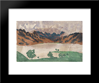Landscape With A River (Norway Between Bergen And Christiania): Modern Black Framed Art Print by Anna Ostroumova Lebedeva