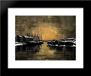 Biron Palace And Barges: Modern Black Framed Art Print by Anna Ostroumova Lebedeva