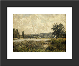 Landscape With A Tributary Of The Seine, Near Paris: Modern Black Framed Art Print by Pericles Pantazis