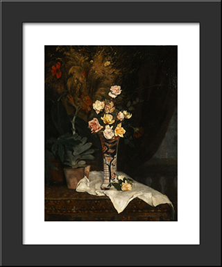 Still Life With Flowers: Modern Black Framed Art Print by Pericles Pantazis