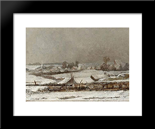 Village Sous La Neige (Vallee De La Meuse): Modern Black Framed Art Print by Pericles Pantazis