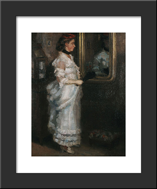 Lady In The Mirror With A Fan: Modern Black Framed Art Print by Pericles Pantazis