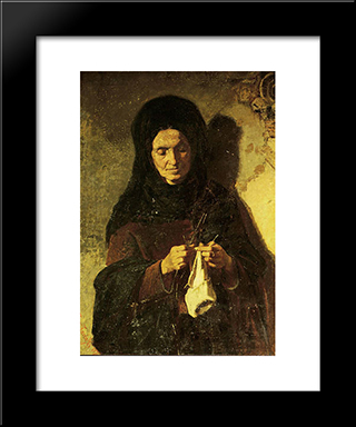 Woman Knitting: Modern Black Framed Art Print by Pericles Pantazis