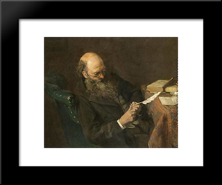 The Writer: Modern Black Framed Art Print by Pericles Pantazis