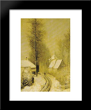 Snowy Landscape: Modern Black Framed Art Print by Pericles Pantazis