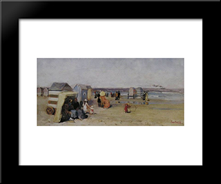 At The Beach: Modern Black Framed Art Print by Pericles Pantazis