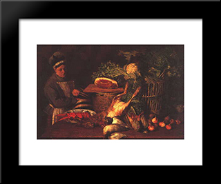 Still Life And Woman: Modern Black Framed Art Print by Pericles Pantazis