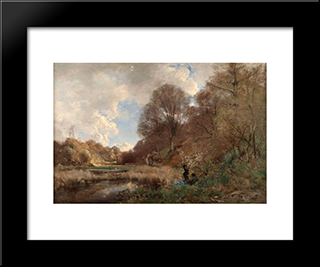 Summer Day At The River: Modern Black Framed Art Print by Pericles Pantazis