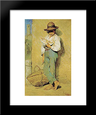 Boy Eating Watermelon: Modern Black Framed Art Print by Pericles Pantazis