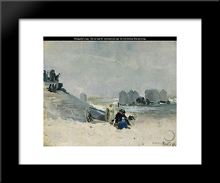 On The Beach, Ostend: Modern Black Framed Art Print by Pericles Pantazis