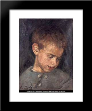 Portrait Of A Boy: Modern Black Framed Art Print by Pericles Pantazis