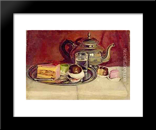 Still Life With Cakes And A Silver Teapot: Modern Black Framed Art Print by Pericles Pantazis