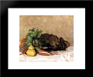 Still Life With Fish And Vegetables: Modern Black Framed Art Print by Pericles Pantazis