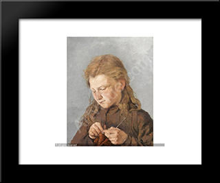 Young Girl Knitting: Modern Black Framed Art Print by Pericles Pantazis