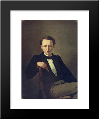 Self-Portrait: Modern Black Framed Art Print by Vasily Perov