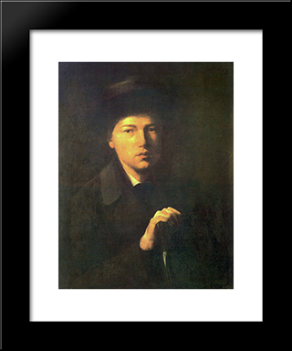 Portrait Of Nikolai Kridener, The Artist S Brother: Modern Black Framed Art Print by Vasily Perov