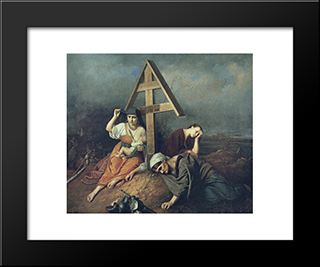 Scene On A Grave: Modern Black Framed Art Print by Vasily Perov