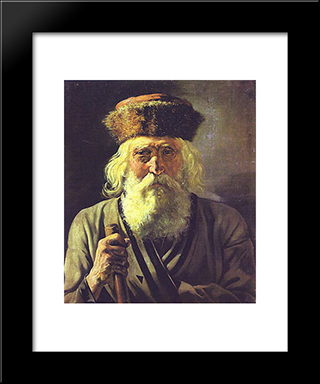 Wanderer: Modern Black Framed Art Print by Vasily Perov