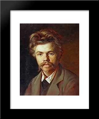 Portrait Of An Unknown: Modern Black Framed Art Print by Vasily Perov