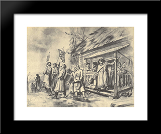 Procession On Easter. Sketch For The Painting: Modern Black Framed Art Print by Vasily Perov
