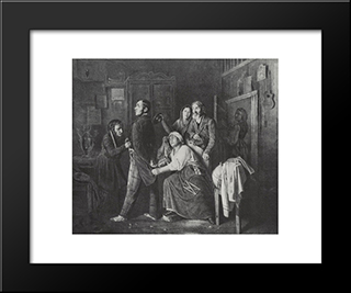 The First Rank. Son Of A Sacristan, Produced In The Collegiate Registrars: Modern Black Framed Art Print by Vasily Perov