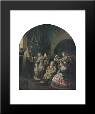 Sermon In A Village: Modern Black Framed Art Print by Vasily Perov
