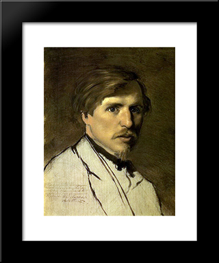 Portrait Of The Artist Illarion Prianishnikov: Modern Black Framed Art Print by Vasily Perov