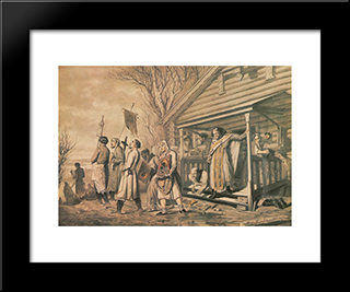 Procession On Easter: Modern Black Framed Art Print by Vasily Perov
