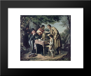 Tea Party At Mytishchi Near Moscow: Modern Black Framed Art Print by Vasily Perov