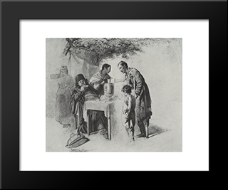 Teatime In Mytischi Near Moscow: Modern Black Framed Art Print by Vasily Perov
