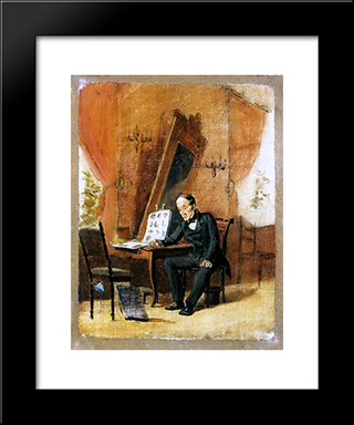Art Teacher: Modern Black Framed Art Print by Vasily Perov