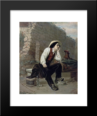 Organ Grinder: Modern Black Framed Art Print by Vasily Perov
