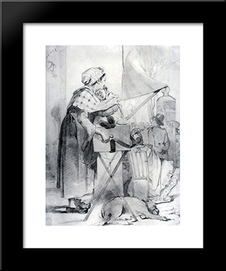 Paris Sharmanschitsa. Sketch: Modern Black Framed Art Print by Vasily Perov