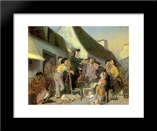 Seller Singers. Sketch: Modern Black Framed Art Print by Vasily Perov