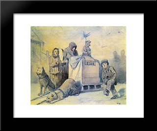 Street Musicians In Paris: Modern Black Framed Art Print by Vasily Perov