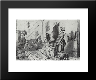 The Funeral Of A Poor Quarter Of Paris: Modern Black Framed Art Print by Vasily Perov