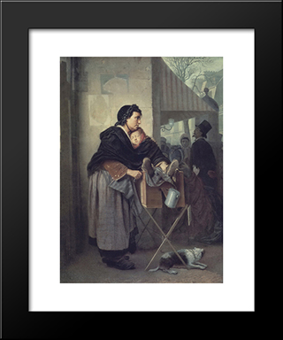 Organ Grinder In Paris: Modern Black Framed Art Print by Vasily Perov