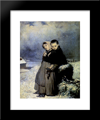 Orphans In The Cemetery: Modern Black Framed Art Print by Vasily Perov