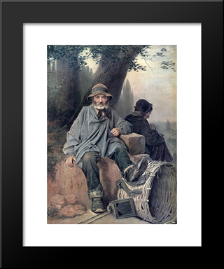 Parisian Rag-Picker: Modern Black Framed Art Print by Vasily Perov