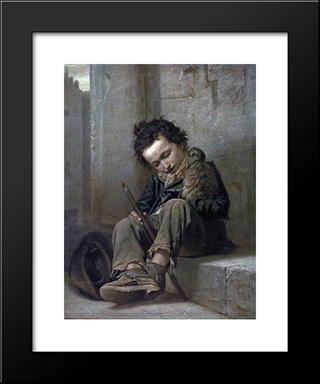 Savoyard: Modern Black Framed Art Print by Vasily Perov