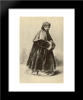 Shy Girl. Study For The Painting 'The Janitor, Who Gives An Apartment To Her Mistress': Modern Black Framed Art Print by Vasily Perov