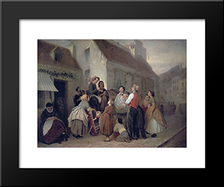 Vendor Of Song Books: Modern Black Framed Art Print by Vasily Perov