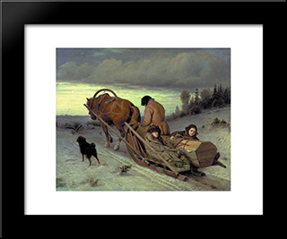 Last Journey: Modern Black Framed Art Print by Vasily Perov